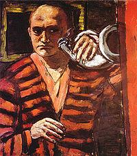 Max Beckmann, zelfportret met hoorn 1938-1940. Portretschilder Liesbeth van Keulen, Portretschool Amsterdam